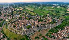 photo aerienne de la cité de Carcassonne